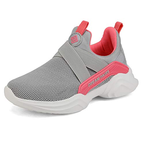 DREAM PAIRS Boys Girls Athletic Sneakers Slip on Lightweight Running Shoes Grey Melon Size 13 M US Little Kid