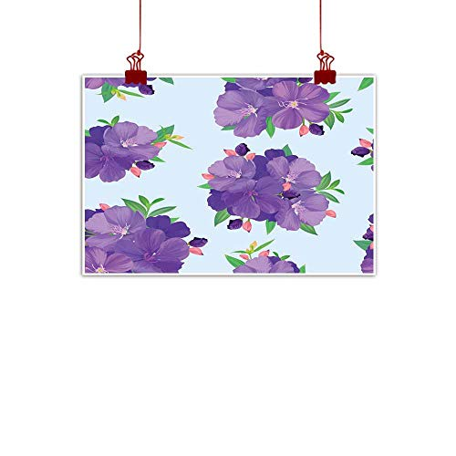 Mannwarehouse Light Luxury American Oil Painting Seamless Pattern with Beautiful Purple Princess Flower or tibouchina urvilleana and Leaf on Blue Background Home and Everything 35