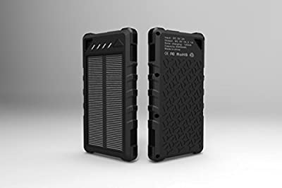 Solar Phone Charger for Cell Phone, External Power Battery Bank, Dual USB Portable Backup, Best Solar Panel for iPhone, Android, Tablet, GPS, Light Weight, Waterproof, Outdoor, LED Flashlight (Black)