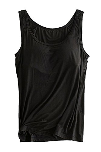 FOURSTEEDS Womens Modal Scoop Neck Sleeveless Casual Stretch Built-In Bra Padded Tunic Top Black US 6-8/Tag Size XL