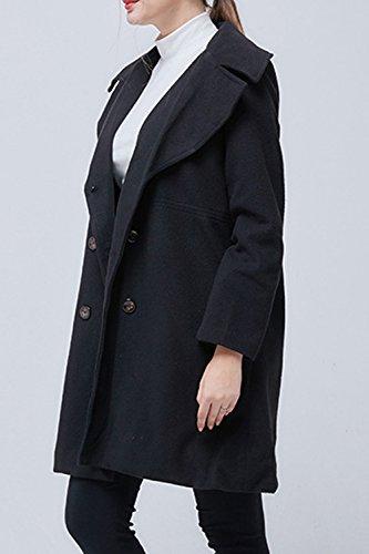 Invierno Mujer La Outwear Estilo Double Breasted Elegante British Lapel negro Abrigo drrH0q