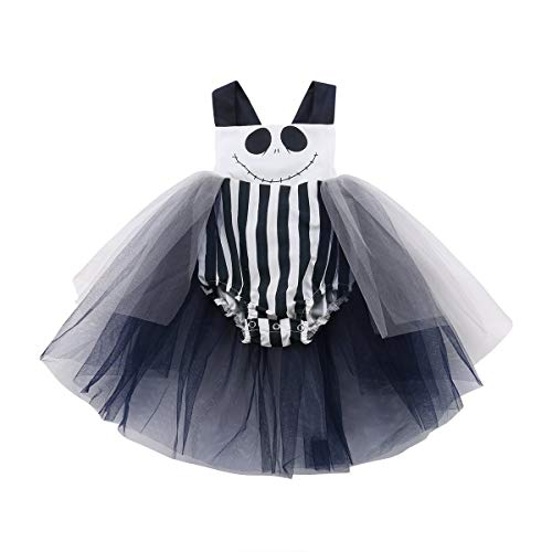 Newborn Infant Toddler Baby Girl Halloween Smile Romper Tank Top Bodysuit Halter Bowknot Jumpsuit Tutu Dress (70/0-6M, Black+White) -