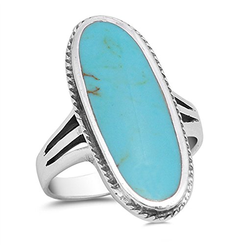 Large Long Simulated Turquoise Solitaire Ring New .925 Sterling Silver Band Size 7