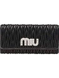Miu Miu Women S 5mh1092bsqf0002 Black Leather Wallet