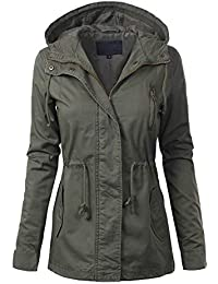 Women's Casual Safari Military Anorak Utility Hoodie Zip Up Jacket