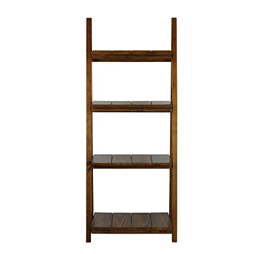 Magazine Ladder Rack (Casual Home Manhasset Slatted 4-Shelf Folding Bookcase-Warm Brown)