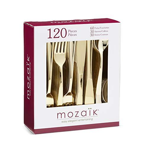 Mozaik CMG120CAM Premium Plastic Classic Assorted Gold Cutlery, 120-Count