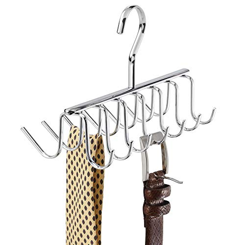 InterDesign Axis Metal Tie and Belt Hanger, Hanging Closet Organization Storage Holder for Belts, Men's Ties, Women's Shawls, Pashminas, Scarves, Clothing, Accessories, 14 Hooks, Chrome