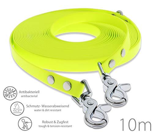 SNOOT Schleppleine 10m - zugfeste, schmutz- und Wasserabweisende Hundeleine mit Zwei Karabiner und D-Ring