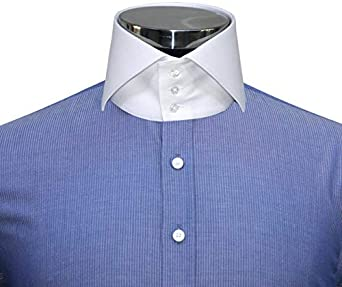 WhitePilotShirts Hombre Cuello Alto Azul Marino Rayas 3