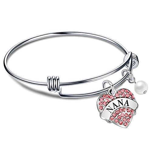 lauhonmin Gift for Family Nana Pink Crystal Love Heart Pendant Beads 8
