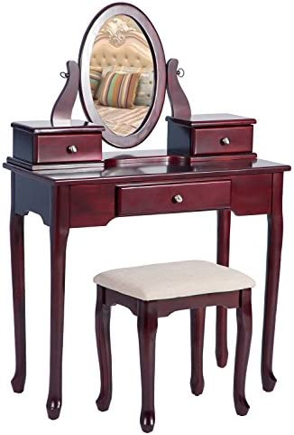 Merax Vanity Set with Stool Dressing Make-Up Table with 3 Drawers and Mirror Bedroom Cherry