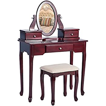 Amazon Com Bobkona Jaden Collection Vanity Set With Stool