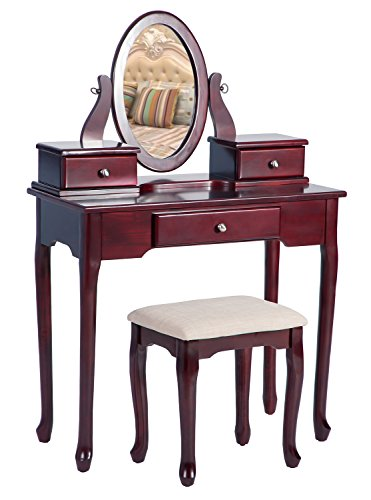 Merax Vanity Set with Stool Dressing Make-Up Table with 3 Drawers and Mirror Bedroom (Cherry) by Merax