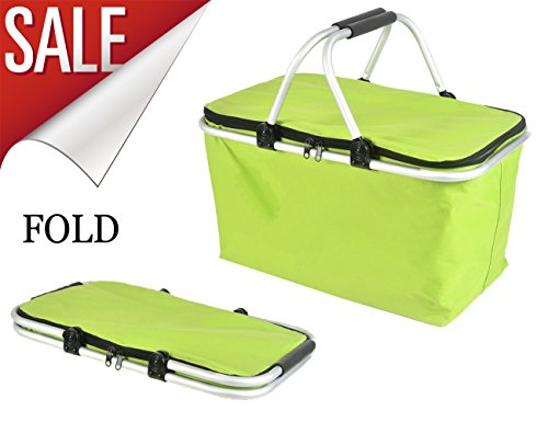 Folding Picnic Basket,Large Insulated Cooler Bag Perfect For Outdoor Camping, Hiking