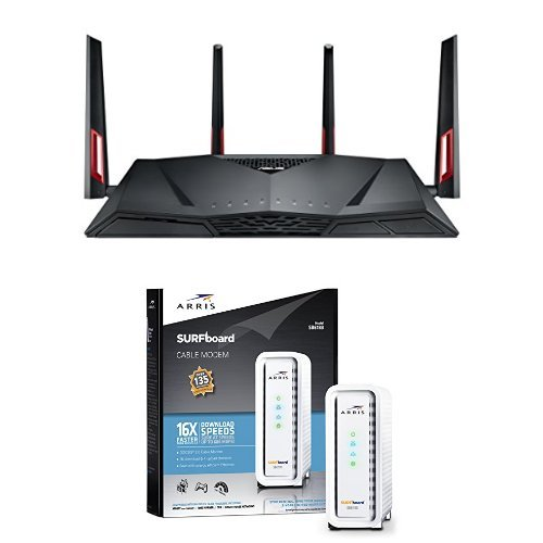 ASUS Dual-Band Wireless-AC3100 Gigabit Router (RT-AC88U) & ARRIS SURFboard SB6183 DOCSIS 3.0 Cable Modem - Retail Packaging - White