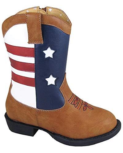 Smoky Mountain Toddler-Boys' Austin Lights Western Boot Round Toe Tan 6 D
