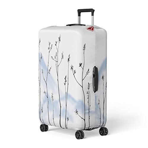 Semtomn Luggage Cover Tree Branches Fresh Leaves and Blue Mountains on Hieroglyph Travel Suitcase Cover Protector Baggage Case Fits 18-22 Inch