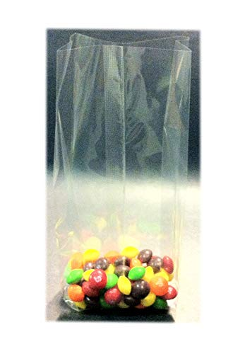100 Pcs 3x2x8 Clear Side Gusseted Cello Cellophane Bags Good for Candy Cookie Bakery (by UNIQUEPACKING)