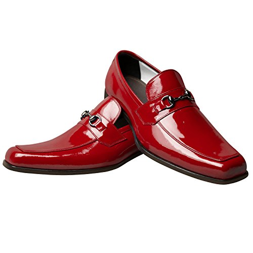 Itailor Scarpe Uomo Artigianali: Mocassino Con Morsetto Rosso Fuoco In Vernice Color Fuoco