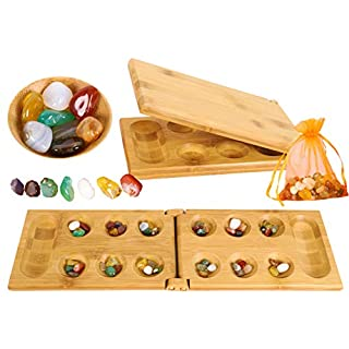 TOWO Mancala Board Game - Kalaha Board Game with Folding Wooden Board Natural Stone Pebbles -Families Board Games-Mancala Games Strategic Game for Kids Adult