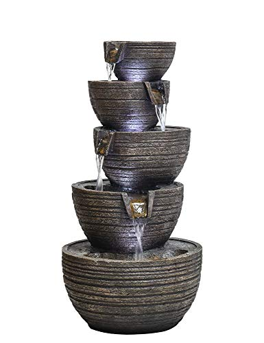 "PeterIvan Garden Fountain Outdoor - 22 4/5"" H Patio Fountains and Waterfalls Cascading Natural Water Sound&Cool LED Lights Floor Fountain Designed with 5 Bowls for Garden, Yard, Patio, Stairway"