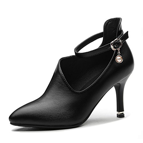 HGTYU-A Word Of High Heel 7Cm Shoes Spring And Autumn Single Shoe Ladies Leather Shoes Waterproof Taichi And Fine Heels 8 Black HEAa5Ke4d