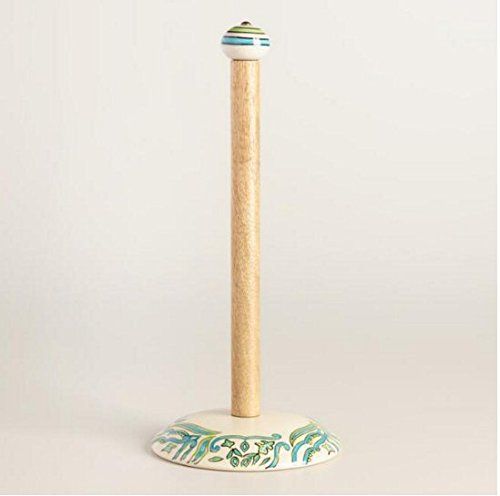 wm Paper Towel Holder Paper Towel Stand Paper towel Dispenser Wooden and Ceramic Aqua TURQUOISE Blue and Off white Hand crafted and Hand Painted Pacific Ocean Inspired (Ceramic Paper Towel Holder)