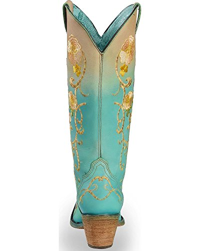 Corral Womens Turquoise Orange Floral Boot Ricamato Snip Toe Turchese 6,5 M