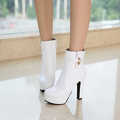 Easemax Womens Trendy Round Toe Strap Rhinestones Platform High Chunky Heel Side Zipper Ankle Boots White LzNMATnDdU