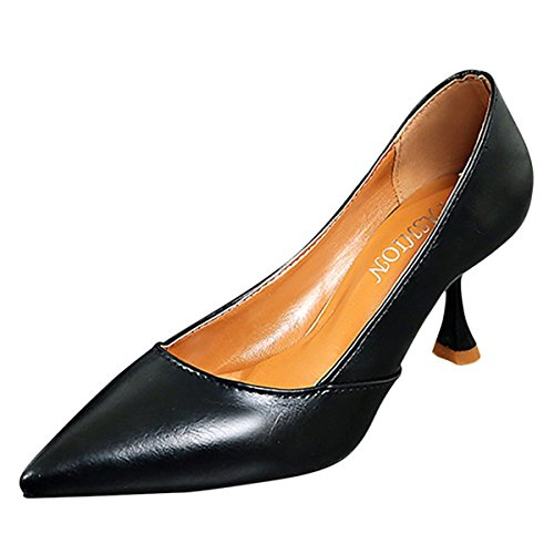 Molla Nero Beige Tacchi Stiletto Marrone Punta Nero Il Heel Comfort PU Scarpe per DIMAOL Casual Donna ZwAqRtt1