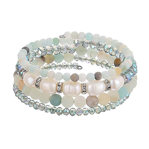 - Beaded Freshwater Pearl Chakra Bracelet - Multi Strand Wrap Bracelet with Natural Crystal Agate Beads, Birthday Gifts for Women (Green)
