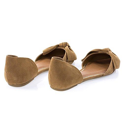 Open Bow Slip Toe Flat w Shank DOrsay Double Tan On Pointed Womens 7Aw1SqA