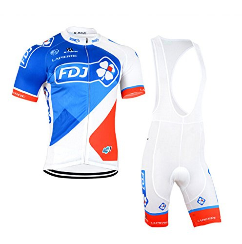 2016 Sportswear Pro Team Men's Short Sleeve FDJ Cycling Jersey bib Shorts Cycling Bicycle Bike Cycle Jacket Comfortable Breathable Cycling Clothing Set