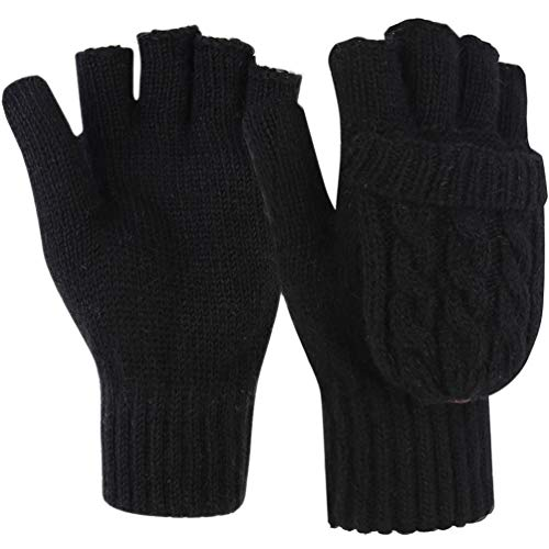 Novawo Tightly Knitted Winter Women Knitted Flip Gloves Warm Gloves with Advanced Weaving Technology, Black, One Size