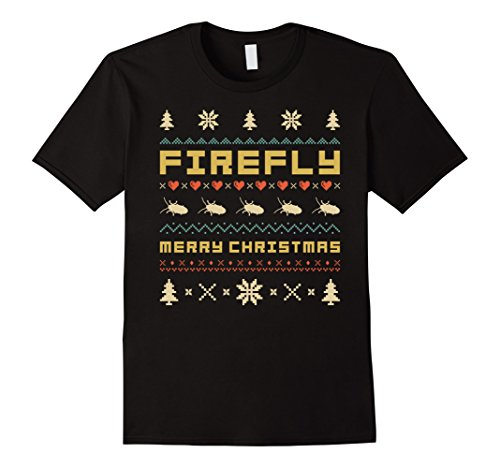 Mens FIREFLY Christmas T-Shirt, Ugly Christmas Sweater T-shirt XL (Firefly Clothing)