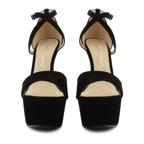 Footwear Sensation - Sandalias de vestir de sintético para mujer negro - Black Suede