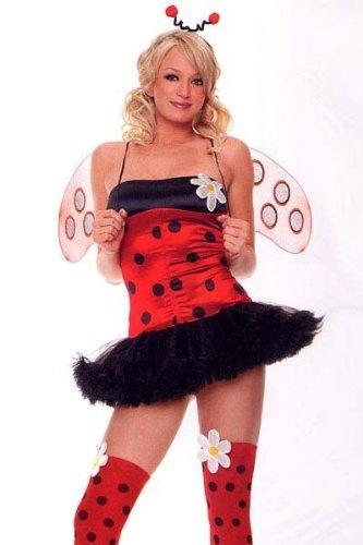Leg Avenue Women's 4 Piece Daisy Bug Costume Includes Head Piece With Dot Stocking And Daisy (Daisy Bug Costume)