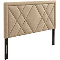 AC Pacific Modern California King Size Diamond Tufted Headboard With Nailhead Trim, California King, Tan