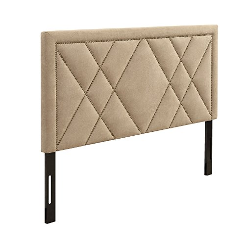 AC Pacific Modern California King Size Diamond Tufted Headboard With Nailhead Trim, California King, Tan (King Headboard Bedroom California)