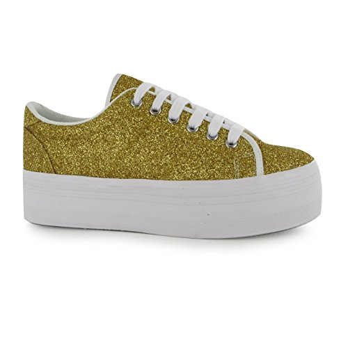 Jeffrey Campbell Play Zomg paillettes or Plateforme Chaussures Femme Baskets Sneakers