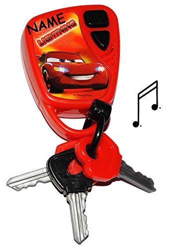 elektrischer Schlüssel / Autoschlüssel mit SOUND - Disney Cars Lightning McQueen - incl. Namen - für Kinder / Jungen - Auto Kinderschlüssel - Schlüsselbund / Schlüsselband - Spielzeug Musik Melody - Fahrzeugschlüssel