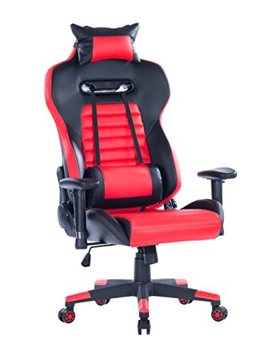 HEALGEN Gaming Chair with Lumbar Support Cushion PC Computer Video Game Chair Racing Gamer High Back Swivel Executive Ergonomic Office Chair with Headrest (Red)
