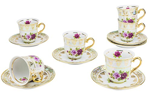CG SOCIETY, 24K Gold-Plated Porcelain Vintage Floral Dining Tea Coffee Set for Six, 4 Oz Classic Bone China Old-Fashioned Espresso 6 Cups and 6 Saucers, 12-Piece Set + Complimentary Gift Pen