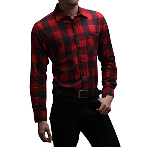 Pishon Men's Flannel Shirt Plaid Lightweight Long Sleeve Slim Fit Button Up Shirt, Red, Tag Size 43=US Size M - Red Flannel Shirt For Men