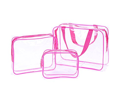 Cothyen Carry On Clear Travel Toiletry Bag, Airport Airline Compliant Bag, Carry-On Luggage Travel Backpack for Liquids Bottles Towel Underwear,3 Pack Pink(Large+Medium+Small )