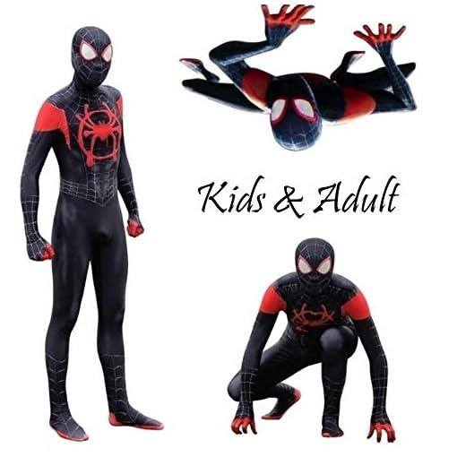 Cavalaria Yerfone Toddler Kids Spider Verse Miles Morales Jumpsuit Bodysuit Kids And Adult Black Spider Tights Zentai Costume