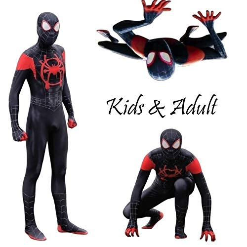 (Cavalaria Toddler Kids Spider Verse Miles Morales Jumpsuit Bodysuit Kids and Adult Black Spider Tights Zentai)