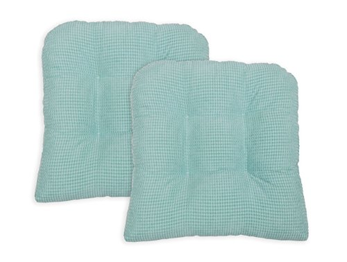 Arlee Memory Foam, Non-Skid Seat Cushion, Set of Two (2) Chair Pad, Aqua Blue, 2 Piece