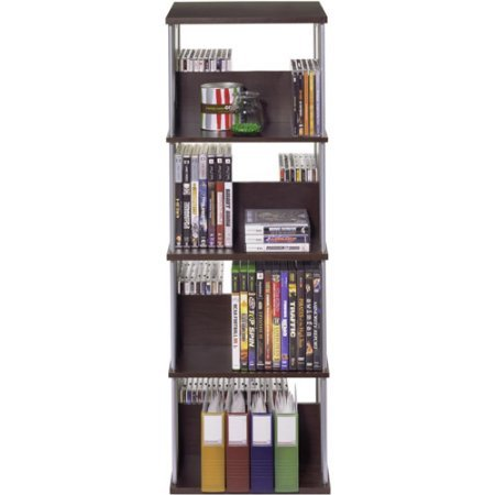 216 CD/144 DVD/Blu-Ray/Games Spinner Stand, Multimedia Capacity Storage Racks, Media Collection Tower, Space-Saving, 360 Degrees Rotatable, Adjustable, 8 Shelves, Functional Storage Unit